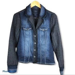 SILVER cotton herringbone jean jacket